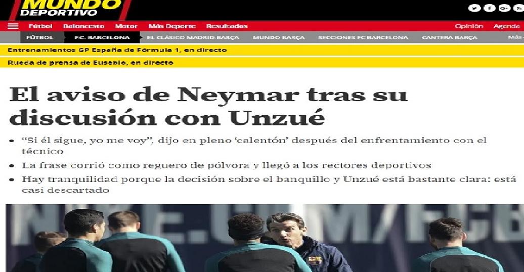 أونزوي لـ(نيمار): ستنتهي مثل رونالدينيو .. واللاعب يرد: بسببك سأرحل؟