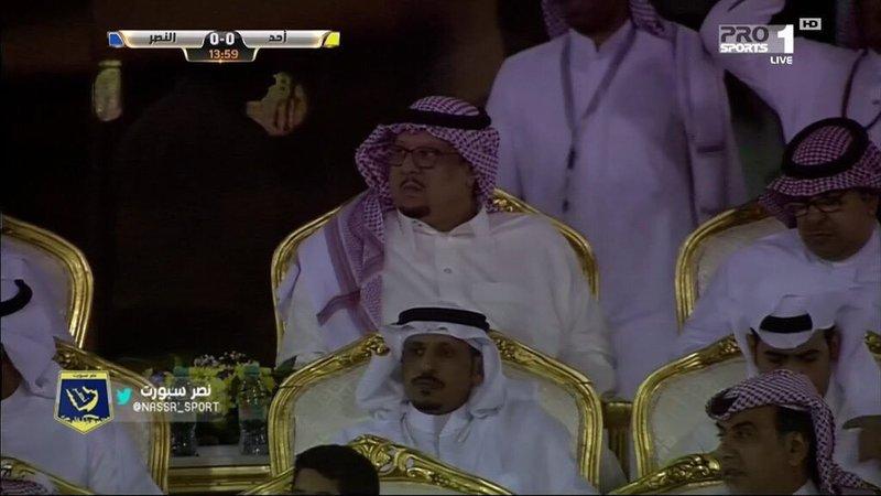 """لأول مرة """"فيصل بن تركي"""" رئيس النصر في المنصة الرئيسة يتابع مباراة فريقه"""