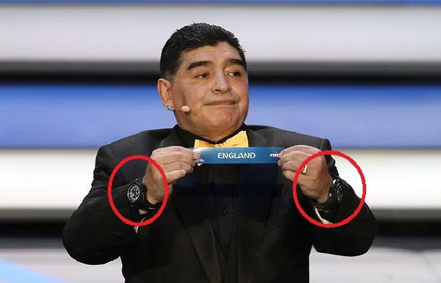 ما سر ارتداء مارادونا ساعتين في حفل قرعة كأس العالم 2018؟!