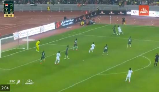 بالفيديو.. المنتخب العراقي يسجل الهدف الثاني في شباك السعودية
