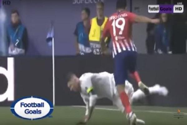 بالفيديو.. شاهد دييجو كوستا يضرب راموس على وجهه فى مباراة ريال مدريد وأتليتكو مدريد!