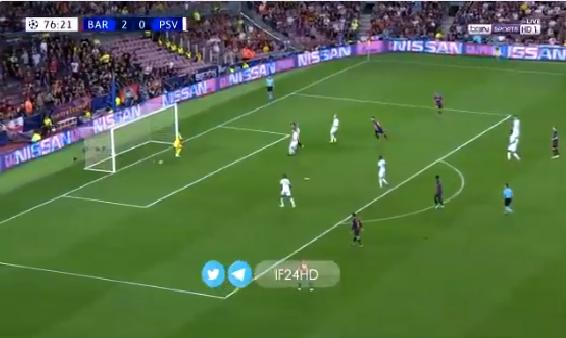 بالفيديو.. ميسي يحرز الهدف الثالث لبرشلونة من لمسة سحرية