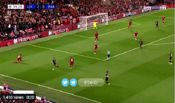 بالفيديو.. باريس سان جيرمان يسجل الهدف الأول في مرمى ليفربول
