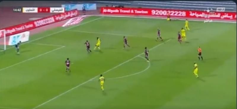 """شاهد.. التعاون يسجل الهدف الأول في مرمى الفيصلي بقدم اللاعب """"هيلدون"""""""