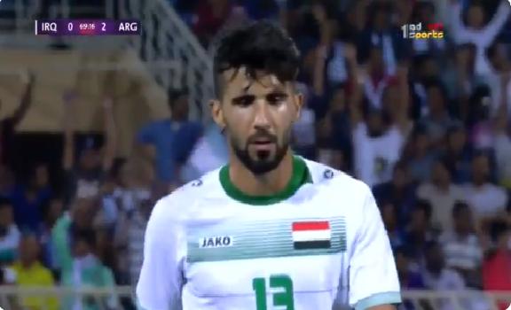 """شاهد.. لحظة تلقي لاعب العراق """"بشار رسن"""" خبر وفاة والدته أثناء مشاركته بمباراة الأرجنتين!"""