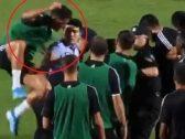 مشهد طريف.. رونالدو يقفز على شرطي لتحرير أحد المشجعين (فيديو)