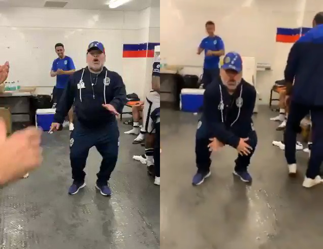 بالفيديو: في أول فوز له في الدوري… مارادونا يرقص فرحا