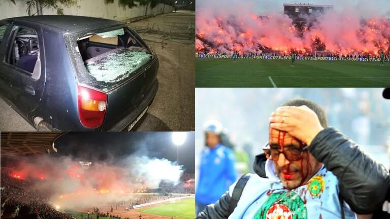 بالفيديو.. إصابات وأعمال شغب عقب مباراة في الدوري المغربي