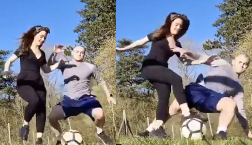 لاعب وست هام يفشل في مراوغة زوجته بالكرة فيضربها (فيديو)